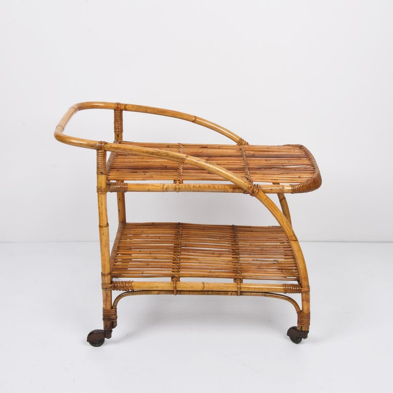 Mid-Century Modern Midcentury Bamboo and Rattan Italian Serving Bar Cart Trolley with Wheels, 1950s For Sale