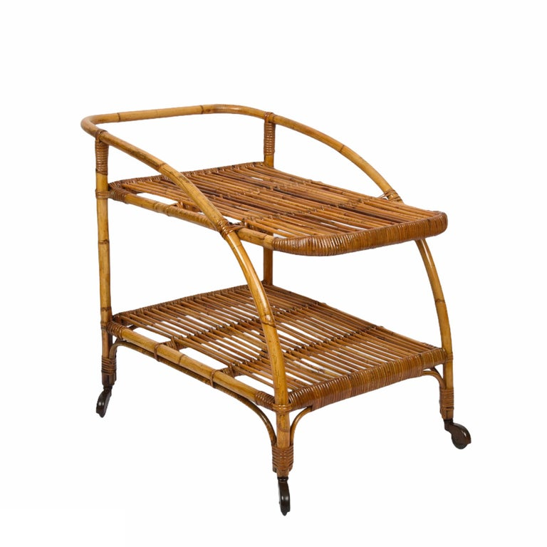 Mid-20th Century Midcentury Bamboo and Rattan Italian Serving Bar Cart Trolley with Wheels, 1950s For Sale