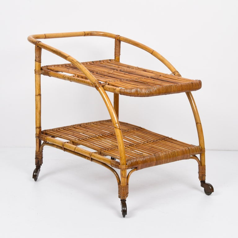 Midcentury Bamboo and Rattan Italian Serving Bar Cart Trolley with Wheels, 1950s For Sale 2