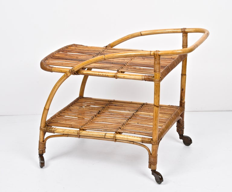 Midcentury Bamboo and Rattan Italian Serving Bar Cart Trolley with Wheels, 1950s For Sale 4