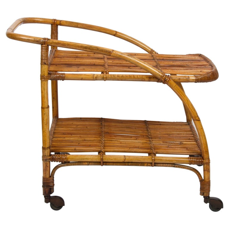 Midcentury Bamboo and Rattan Italian Serving Bar Cart Trolley with Wheels, 1950s For Sale