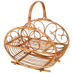 Midcentury Bamboo and Rattan Magazine Rack Attributed to Albini, Italy, 1960s