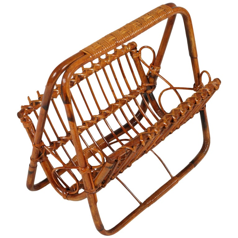 Midcentury Bamboo and Rattan Magazine Rack, Franco Albini Manner For Sale