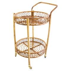 Midcentury Bamboo and Rattan Round Italian Bar Cart, 1960s