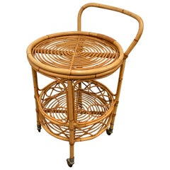 Midcentury Bamboo and Rattan Round Italian Service Side Bar Cart, 1960s