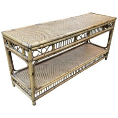 Midcentury Bamboo and Wicker Console Table