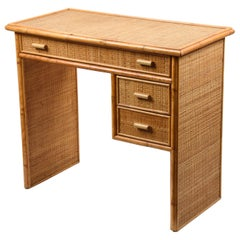 Midcentury Bamboo and Wicker Italian Desk with Drawers, 1980s
