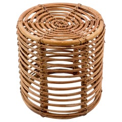 Midcentury Bamboo and Wicker Round Italian Pouf Stool, 1960s