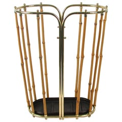 Midcentury Bamboo and Brass Umbrella Stand, Austria, 1950s