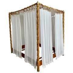 Midcentury Bamboo Canopy Four Poster Bed with Curtains or Outdoor Daybed