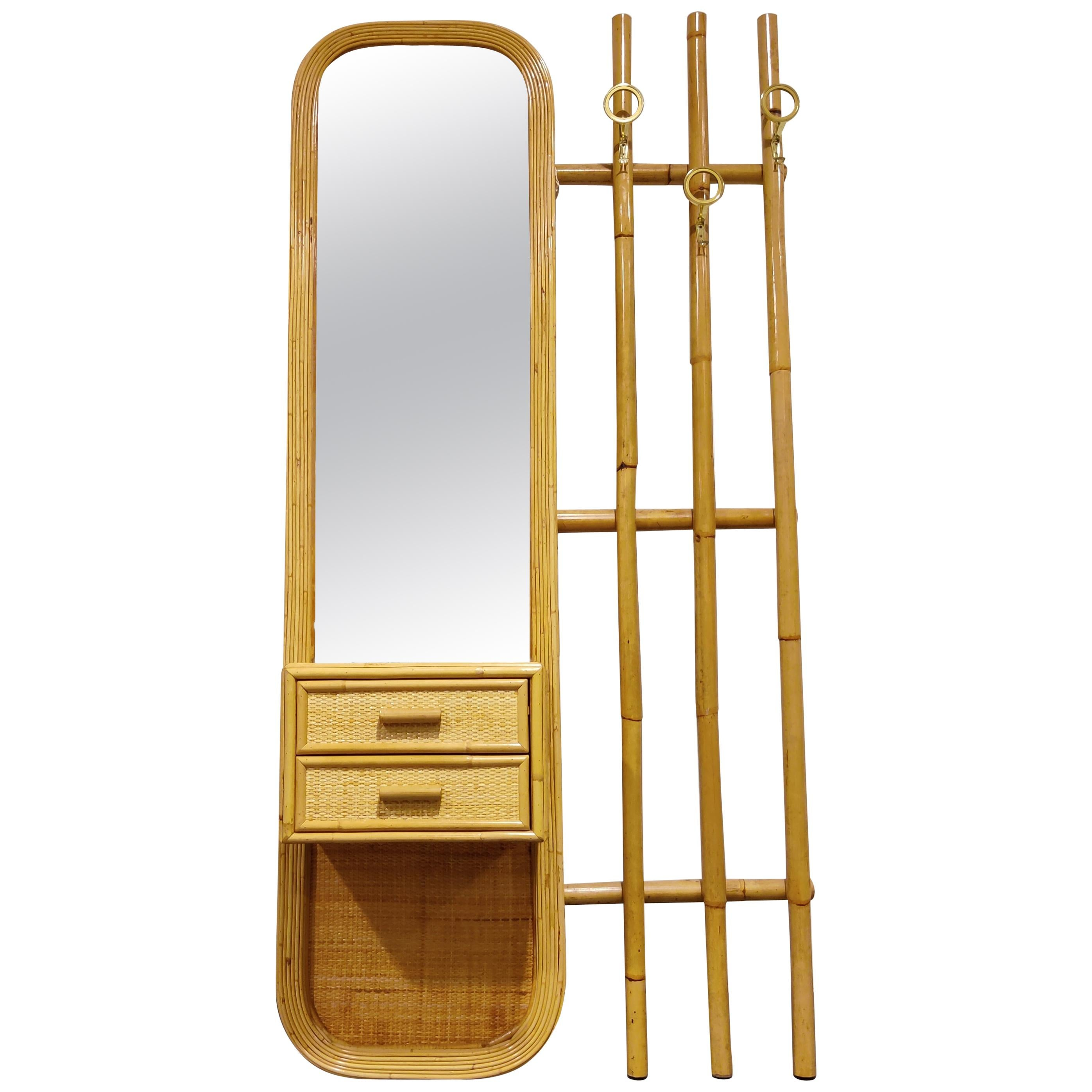 Midcentury Bamboo Coat Rack, 1960s