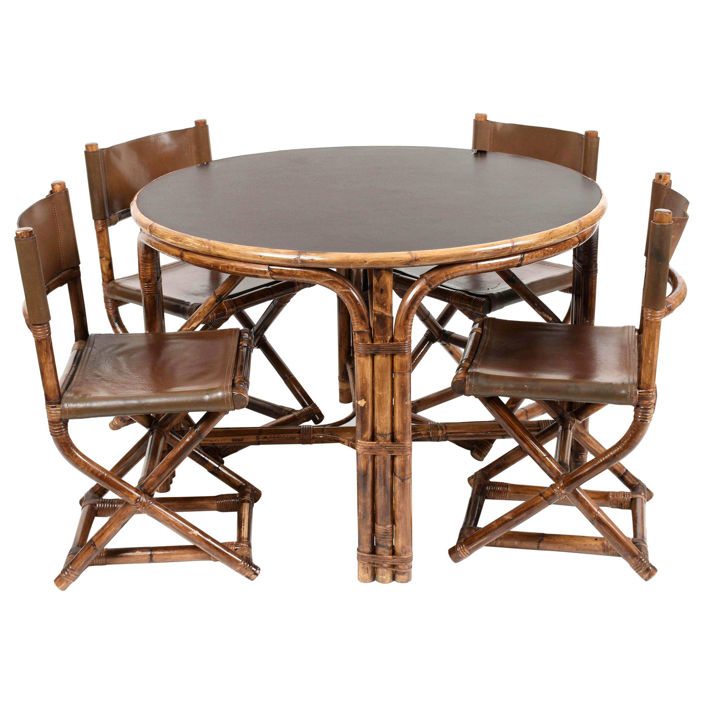 Midcentury Bamboo, Formica and Brown Leather Italian Table and Four Chairs 1960s