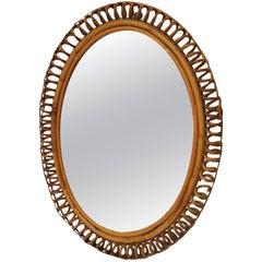 Midcentury Bamboo French Mirror
