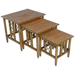 Midcentury Bamboo Rattan Laminate Top Nesting Table, Set of 3