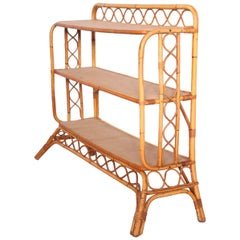 Midcentury Bamboo Rattan Shelves Étagère French Three-Tier Bookcase