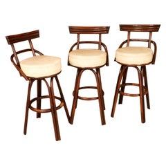 Midcentury Bamboo Rattan Tiki Bentwood Bar Stools Paul Frankl Style