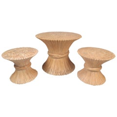 Midcentury Bamboo Sheaf Tables by McGuire, Set of 3