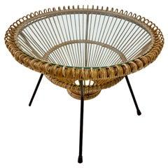 Midcentury Bamboo Side Table, Italian