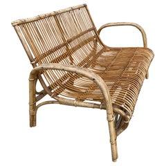 Midcentury Bamboo Sofa by R Wengler, Denmark, 1950s
