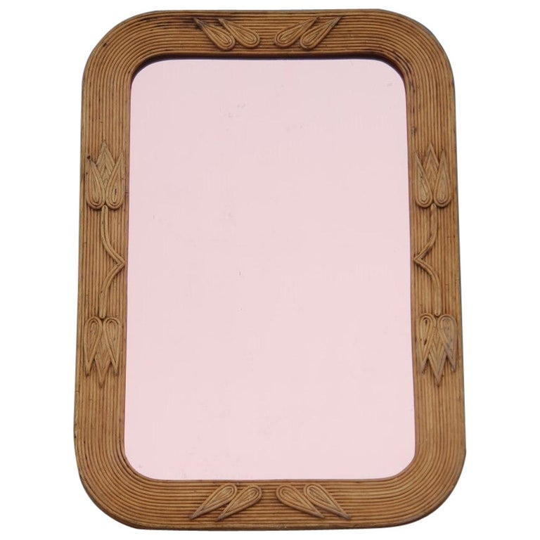 Midcentury Bamboo Wall Mirror Vivai del Sud Pink Flower Leaves Rectangular For Sale