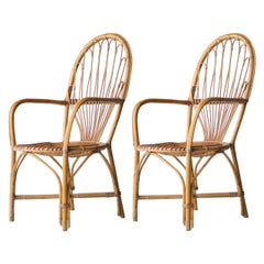 Midcentury Bamboo Wicker Pair of Armchairs, France, 1970