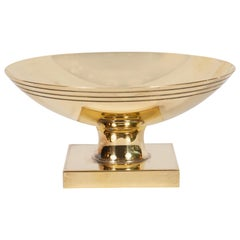 Midcentury Banded Brass Dish by Tommi Parzinger for Dorlyn Silversmiths