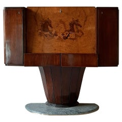 Midcentury Bar Cabinet by Vittorio Dassi in Brown Walnut and