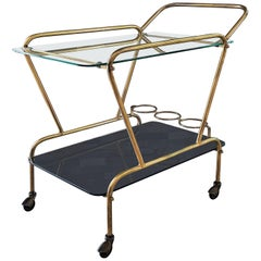 Midcentury Bar Cart Brass and Mirror by Lacca, Italy, 1950s