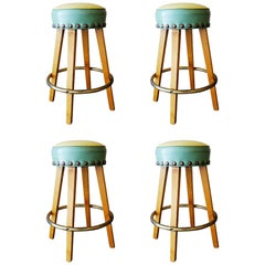 Midcentury Bar stools with Brass Footrest