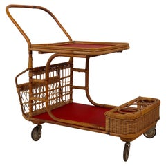 Midcentury Bar Wagon in Wicker with Red Shelves
