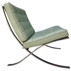 Midcentury Barcelona Chair in Special Order Stainless Steel and Leather