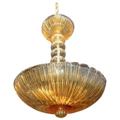 Midcentury Barovier Seguso Murano Italian Ribbed Amber Glass Dome Chandelier