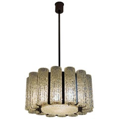 Midcentury Barovier e Toso Murano Ice Glass Chandelier with Chrome Frame, 1960s