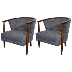 Midcentury Barrel Back Chairs in Handrubbed Walnut with Rectilinear Upholstery