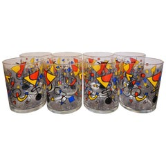 "Mid-Century Barware Set With Multi-Color ""Kandinsky Inspired"" Design"