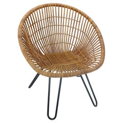 Midcentury Basket Woven Lounge Chair with Hairpin Metal Legs, 1950s