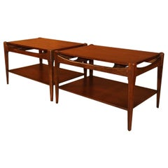 Midcentury Bassett Danish Inspired Walnut Side Tables