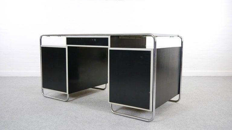 Midcentury Bauhaus Desk Tubular Steel Frame Industrial For Sale 5