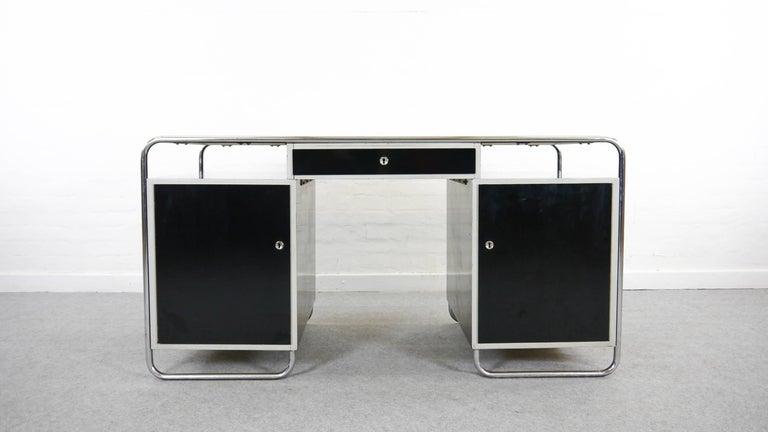 Midcentury Bauhaus Desk Tubular Steel Frame Industrial For Sale at ...
