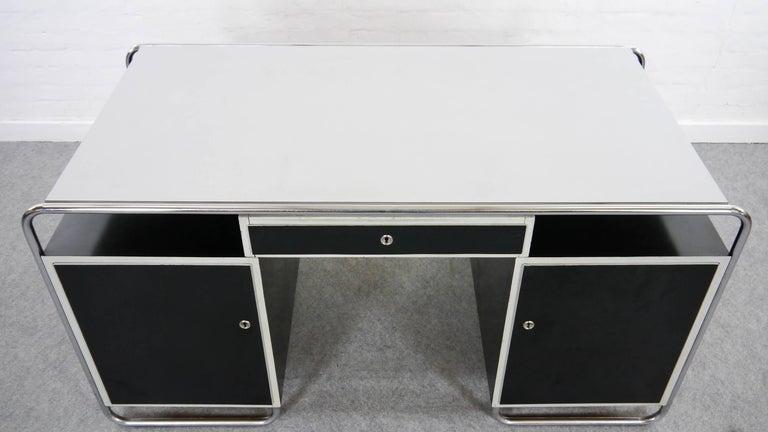Midcentury Bauhaus Desk Tubular Steel Frame Industrial In Good Condition For Sale In Halle, DE