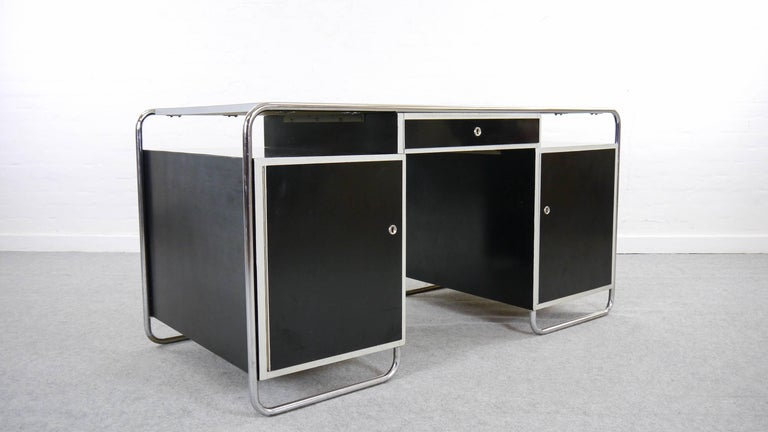 Mid-20th Century Midcentury Bauhaus Desk Tubular Steel Frame Industrial For Sale