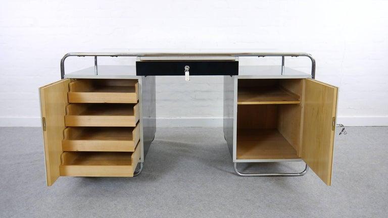 Midcentury Bauhaus Desk Tubular Steel Frame Industrial For Sale 1