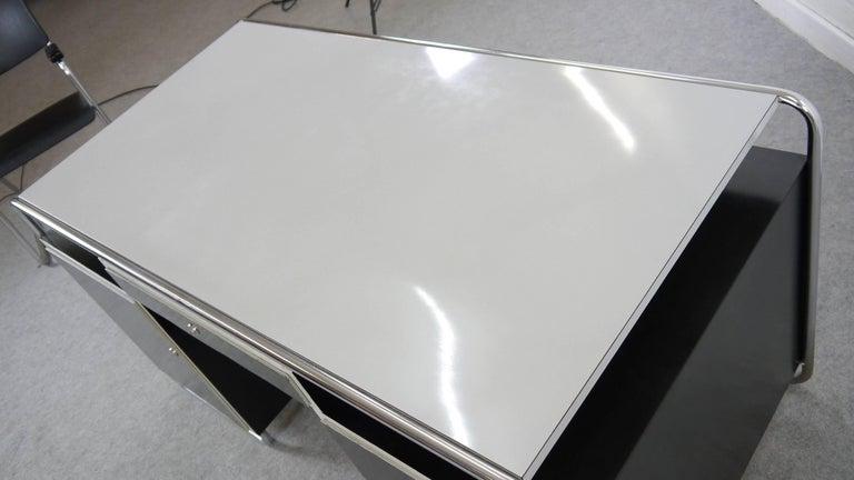Midcentury Bauhaus Desk Tubular Steel Frame Industrial For Sale 2