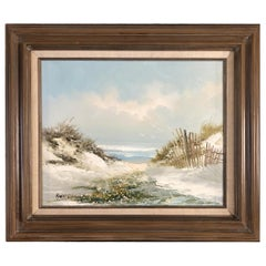 Midcentury Beach Scenic Oil on Board in Original Frame, Post War Signed