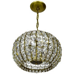 Midcentury Beaded Crystal and Brass Sphere Pendant