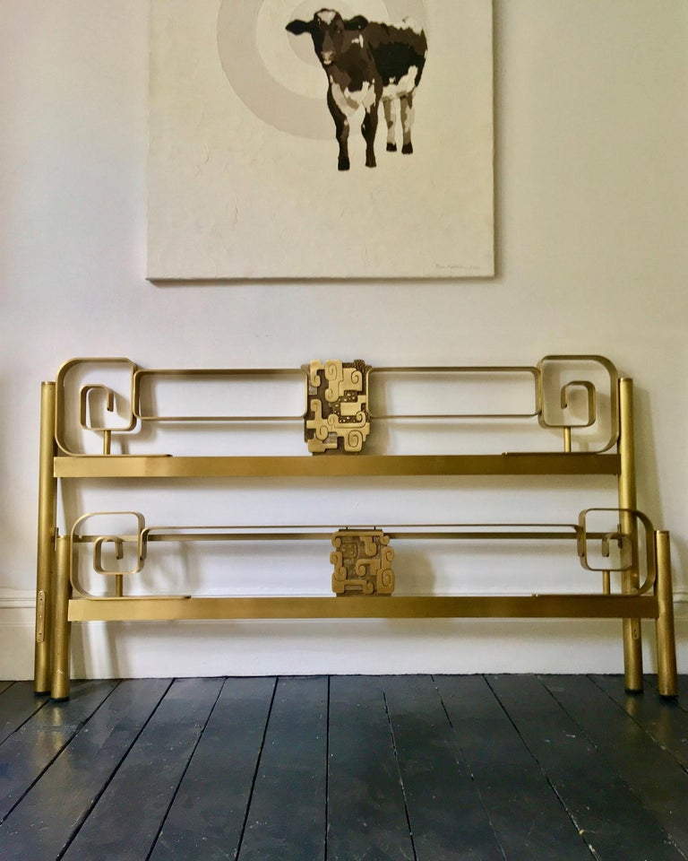 Midcentury Bed Frame of Lacquered and Patinated Brass, Italy, 1970s For Sale 8