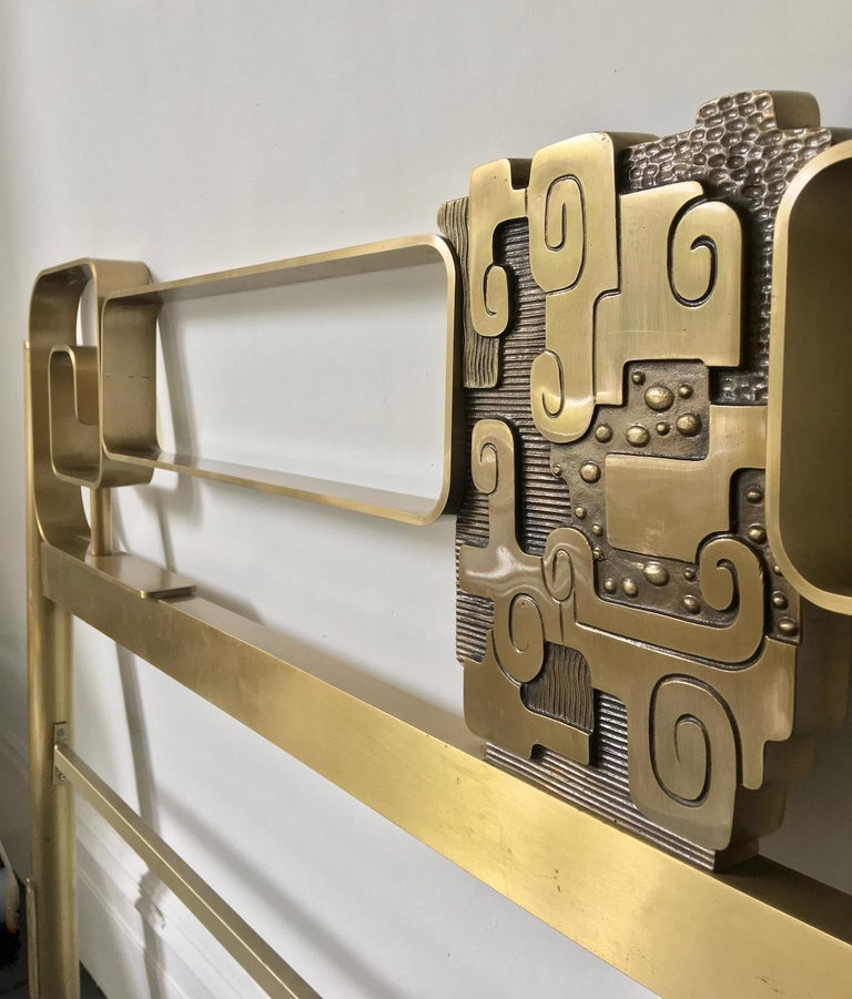 Midcentury Bed Frame of Lacquered and Patinated Brass, Italy, 1970s In Fair Condition For Sale In London, GB