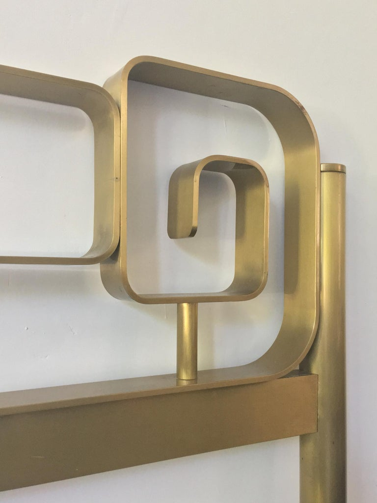 20th Century Midcentury Bed Frame of Lacquered and Patinated Brass, Italy, 1970s For Sale