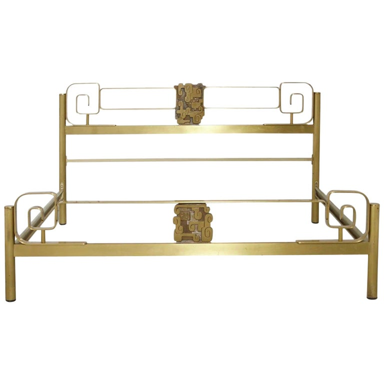 Midcentury Bed Frame of Lacquered and Patinated Brass, Italy, 1970s For Sale