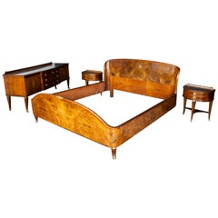 Midcentury Bed Room Set with Bed Two Nightstands and Dressing Paolo Buffa Style
